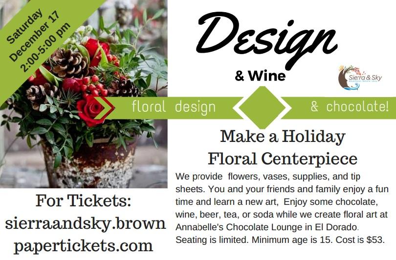 DIY Floral Design Class El Dorado, CA near Sacramento Holiday Design!