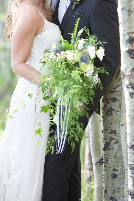 Woodland wedding bouquet of green, white, and blue stripe. Lake Tahoe.