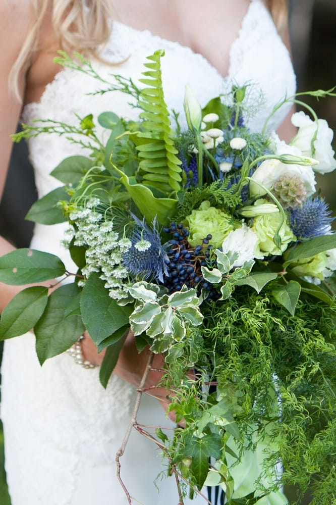 green, white, blue bouquet