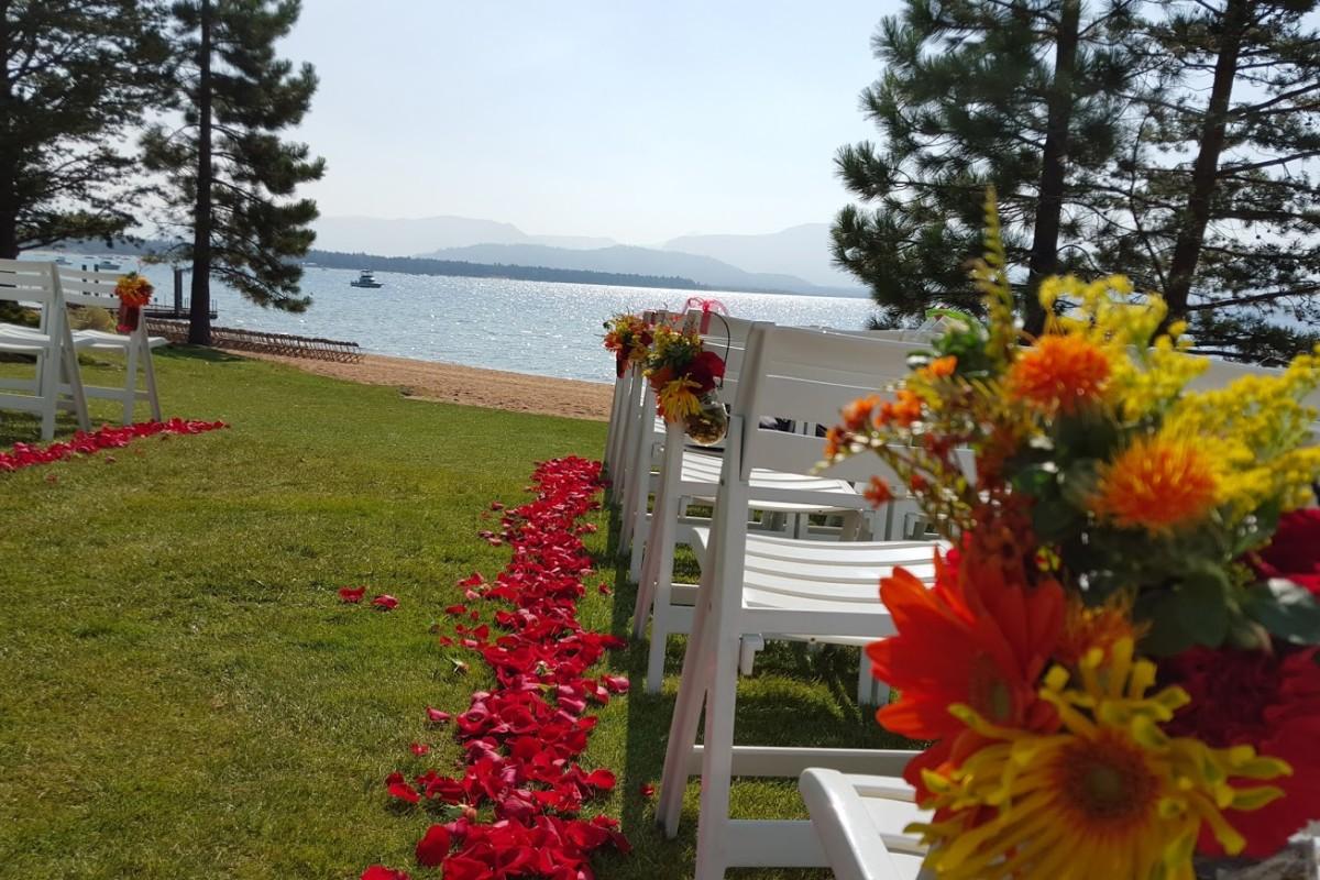 Modern autumn wedding aisle at Edgewood South Lake Tahoe by Sierra & Sky Shingle Springs